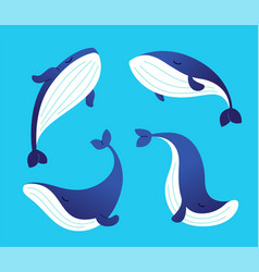 whale - modern set of flat vector image