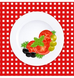 White Plate With Tomatoes Olives And Fresh Herbs vector image