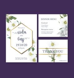 Winter bloom wedding card design with anemone vector