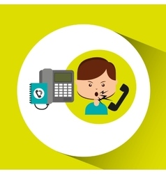 Woman customer complaints call center vector