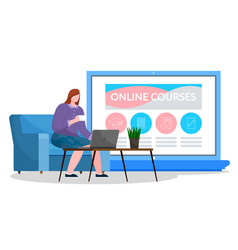 woman work on laptop website about online courses vector image