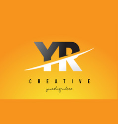 Yr y r letter modern logo design with yellow vector
