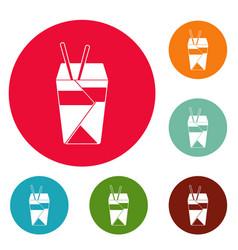 chinese fast food icons circle set vector image