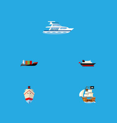 flat icon vessel set of vessel tanker cargo and vector image vector image