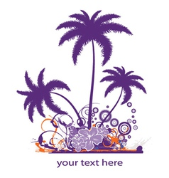 palm trees with grunge vector image vector image