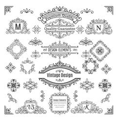 Set of vintage line elements vector image vector image