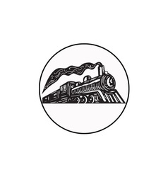 Steam Train Locomotive Coming Up Circle Woodcut vector image vector image