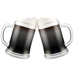 Two dark beer mugs clink vector image vector image