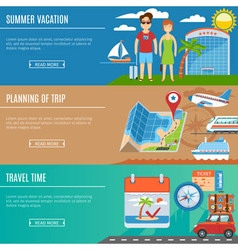 Vacation And Travel Flat Banners Set vector image