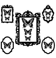 butterflies in vintage picture frames vector image vector image