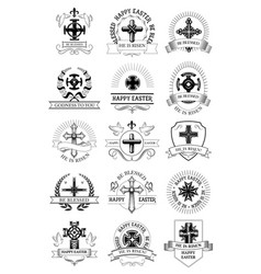 Easter holiday symbol set with crucifix cross vector