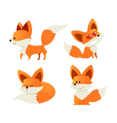 fox- modern set of flat vector image vector image