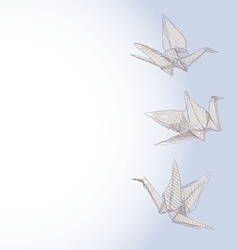 origami crane sketch - symbol of faith hope and vector image