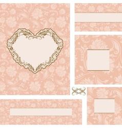 ornate wedding frame set with heart frame vector image