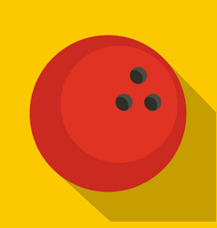 red marbled bowling ball icon flat style vector image