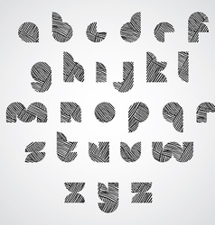 Simple shape letters font with hand drawn lines vector image