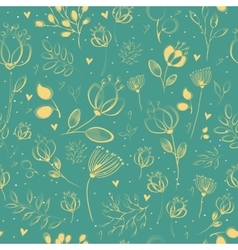 Spring Yellow Flowers Floral Seamless Pattern vector image vector image