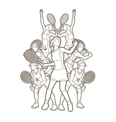 tennis players women action outline vector image