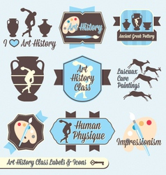 Vintage Art History Class Labels and Icons vector image vector image