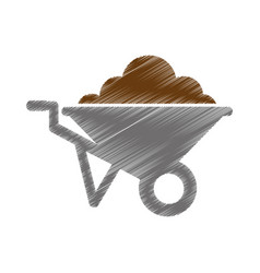 wheel barrow isolated icon vector image