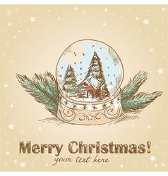 Christmas hand drawn postcard with cute glass ball vector image vector image