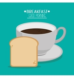 Coffee cup bread and breakfast design vector image vector image