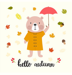 cute bear with umbrella hello autumn funny vector image