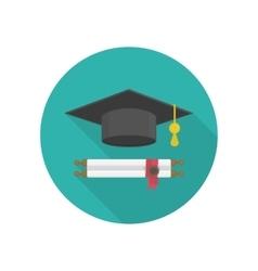 Graduation hat icon vector image