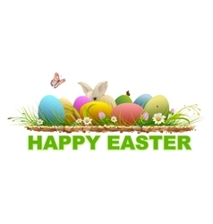 Happy easter Painted eggs and rabbit on green vector image vector image