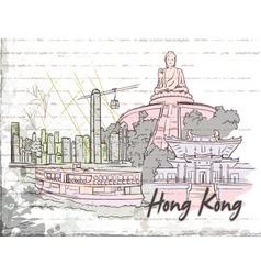hong kong doodles vector image