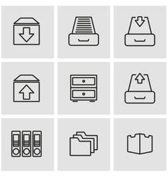 line archive icon set vector image vector image
