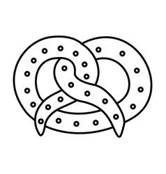 Silhouette tasty pretzel snack icon vector