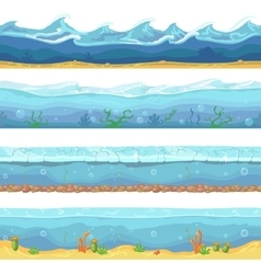 Water waves or ocean sea seamless vector image