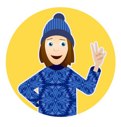 with smiling girl in sweater with vector image vector image