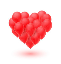 ballons in form of heart isolated on white vector image vector image