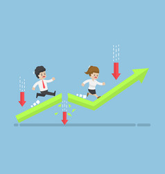 business people run to top of the graph through vector image