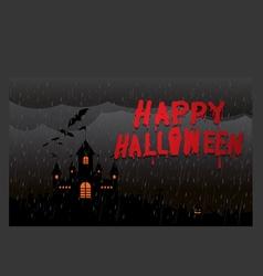 Halloween pumpkins and dark castle The night rain vector image vector image