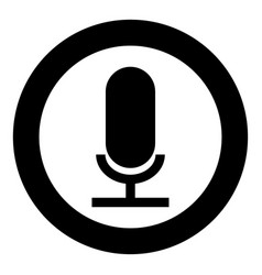 microphone the black color icon in circle or round vector image vector image