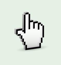 3d pixelated hand pointer vector