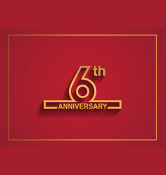6 anniversary design with simple line style vector