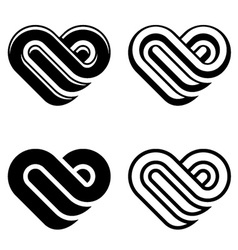 abstract heart black white symbols vector image