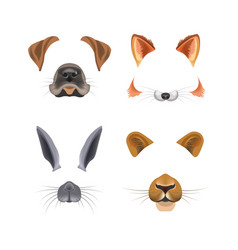 Animal face video chat or selfie photo filter vector
