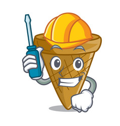 automotive sweet wafer cone isolated on maskot vector image