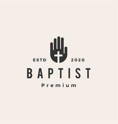 Baptist hand christian cross hipster vintage logo vector