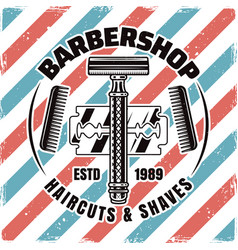 Barbershop emblem with razor and blade vector