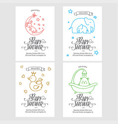 Bashower invitations doodle collection vector