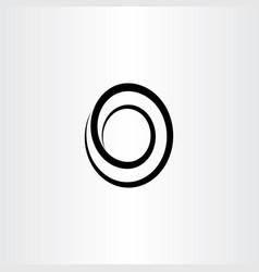 black line spiral o letter logo symbol vector image