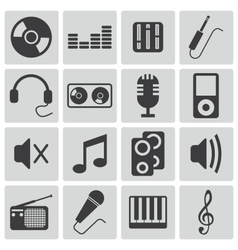 black music icons set vector image