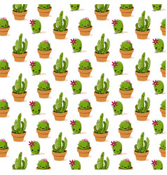 Botanicals pattern cactus set background im vector