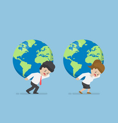Businessman and businesswoman carry world globe vector